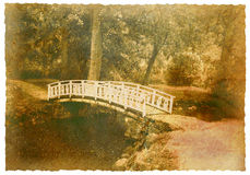 Bridge across the river. Postcard of the bridge across the river stock photos
