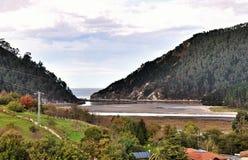 Bridge across the river Brazo Mayor flowing into the Cantabrian sea in San Vicente de la Barquera Royalty Free Stock Photo