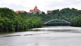 Bridge across the river and Castle Veveri, Czech Republic, Europe Royalty Free Stock Photo
