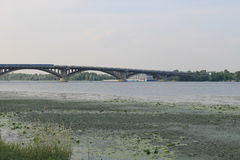 Bridge across river Dnieper in Kiev Stock Images