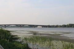 Bridge across river Dnieper in Kiev Royalty Free Stock Photo