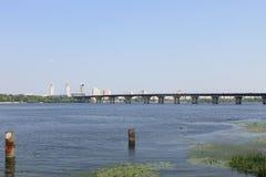 Bridge across river Dnieper in Kiev Stock Photo