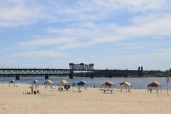 Bridge across river Dnieper Royalty Free Stock Images