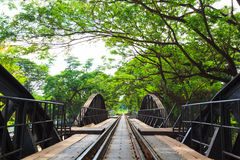 Bridge across river Kwai, Kanchanaburi, Thailand Stock Photo