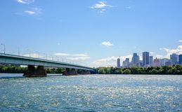 Bridge across river leading to downtown Montreal, Quebec, Canada. MONTREAL, CANADA - JUNE 15, 2018: The Concordia Bridge links the southern point of St. Helen`s stock photos