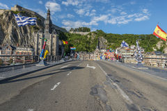 Bridge across the river Meuse in Dinant, Belgium. Stock Photography