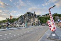 Bridge across the river Meuse in Dinant, Belgium. Royalty Free Stock Image