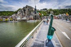 Bridge across the river Meuse in Dinant, Belgium. Stock Photography