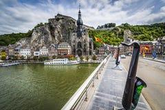 Bridge across the river Meuse in Dinant, Belgium. Stock Images