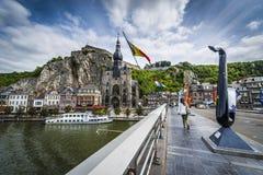 Bridge across the river Meuse in Dinant, Belgium. Royalty Free Stock Photo