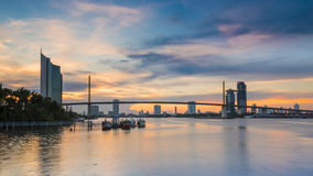 The Bridge across the river with Modern Building at dusk (Bangko. K, Thailand) 1 Royalty Free Stock Images