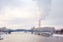 Bridge across the river Moscow Stock Images