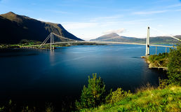 The bridge across the river in mountains in Norway Royalty Free Stock Photos