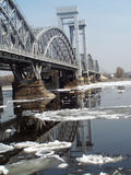 Bridge across the river Neva. And his reflection during drifting of ice , Sankt is Petersburg, Russia Stock Photography