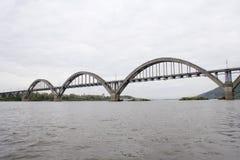 Bridge across the river of Oka. Railway bridge across the river of Oka in the district of Nizhniy Novgorod Stock Photo