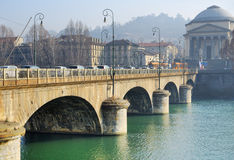 Bridge across the river Po in Turin, Italy Royalty Free Stock Images