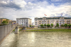 Bridge across the river Salzach Royalty Free Stock Image