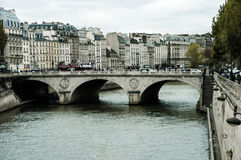 The Bridge across the River Seine. In Paris Stock Photos