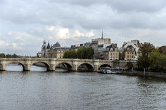 The Bridge across the River Seine. In Paris Royalty Free Stock Photos