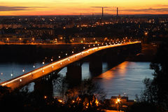 Bridge across the river at sunset. In Nizhniy Novgorod Royalty Free Stock Photos