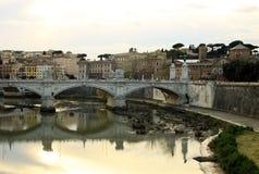 Bridge across river Tiber, Ponte Umberto I, Rome, Italy Royalty Free Stock Images