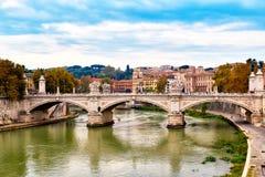 Bridge across river Tiber, Ponte Umberto in Rome, Italy Royalty Free Stock Image