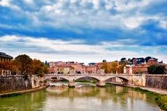Bridge across river Tiber, Ponte Umberto, in Rome, Italy Royalty Free Stock Photography