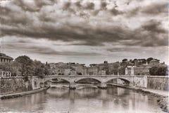Bridge across river Tiber, Ponte Umberto in Rome, Italy Royalty Free Stock Photos