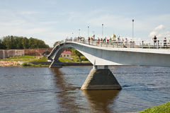 Bridge across the river Volkhov Royalty Free Stock Image