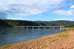 The bridge across the river Yenisei Royalty Free Stock Photography