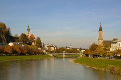 Bridge across Salzach river  with view of riverside Royalty Free Stock Photo