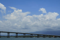 The Bridge across the sea and blue sky in Thailand Royalty Free Stock Photography