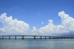 The Bridge across the sea and blue sky in Thailand Royalty Free Stock Photos
