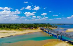 Bridge across the sea. Bridge  the sea. bridge  the sea, srilanka, beautiful, landscape stock photos