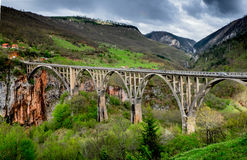 Bridge across Tara river canyon. Montenegro. Royalty Free Stock Photos