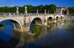 Bridge across the Tiber river. In Rome stock photos