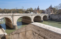 Bridge across Tiber River, Rome, Italy Stock Photos