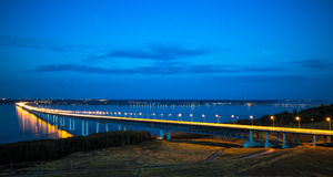 The bridge across the Volga. At night Stock Photo