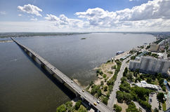 Bridge across the Volga river Royalty Free Stock Image