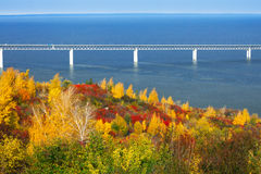 Bridge across the Volga River. Russia. Stock Images