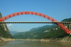 Bridge across Yangzi river Stock Photography