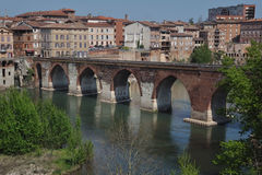 A bridge in albi(france). The pointed arches of an old bridge in the city of albi(france stock photos