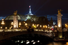 Bridge Alexander III at night. Paris, France. Stock Photos