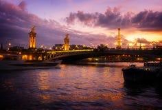Bridge of Alexandre III and Eiffel tower, Paris, Stock Photo