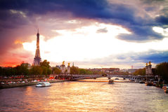 Bridge of Alexandre III and Eiffel tower,  Paris, Stock Photography