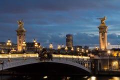 The bridge Alexandre III in evening. Royalty Free Stock Photos