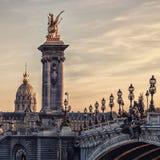 Paris city at sunset Stock Photos