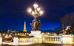 The bridge Alexandre III at night, Paris, France. royalty free stock photography