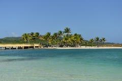 Bridge along the Caribbean Ocean, Roatan, Honduras Royalty Free Stock Images