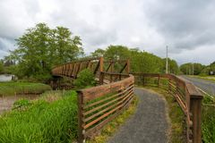 Bridge along Lewis and Clark Hiking Trail Royalty Free Stock Images